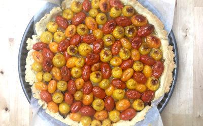 Tarte aux aubergines et tomates cerises