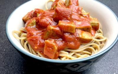 Spaghettis sauce tomate tofu au basilic