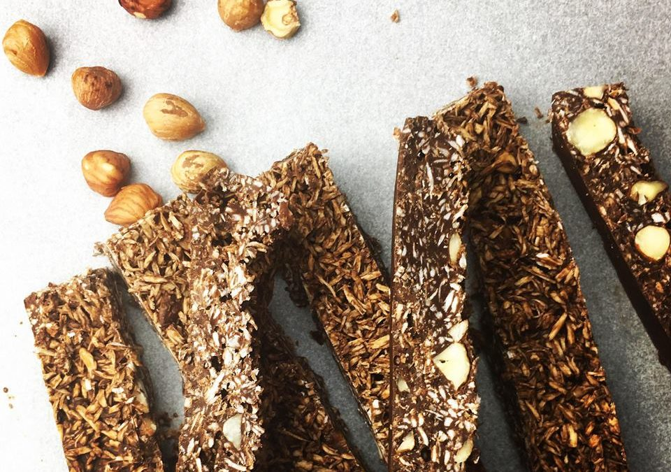 Barres coco chocolat noisettes