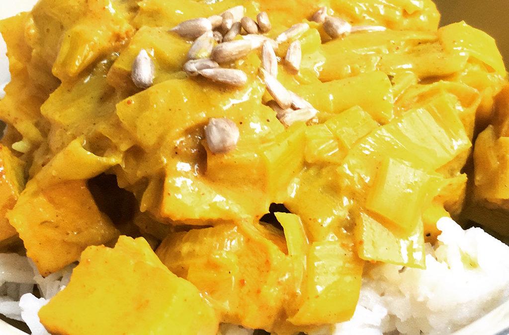 Curry végétarien au poireau et tofu